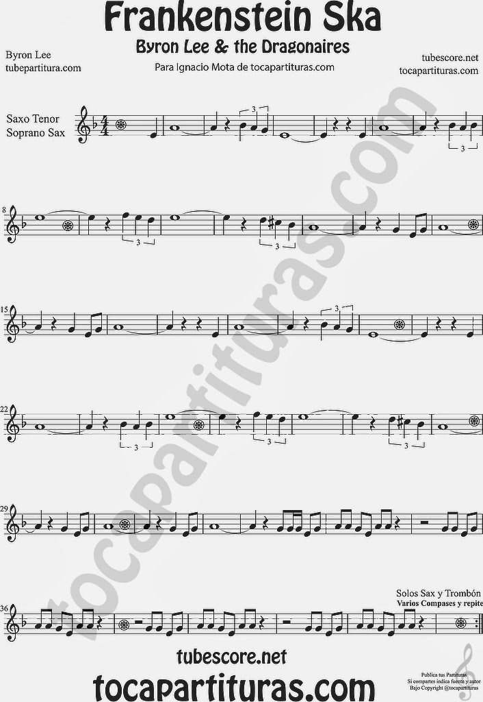 Frankenstein Ska Partitura de Saxofón tenor y Sax. soprano Sheet Music for Tenor and Soprano Saxophone Music Scores  Byron Lee & The Dragonaires