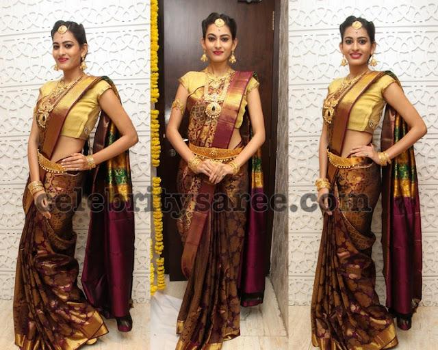Swetha Jadhav Maroon Silk Saree