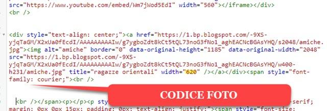 codice della foto in blogger