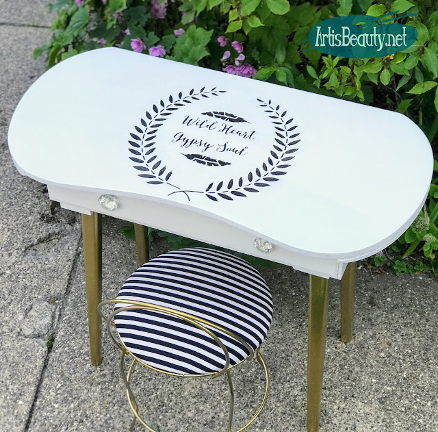 DIY WILD HEART GYPSY SOUL STENCILED VINTAGE DRESSING TABLE MAKEOVER BEFORE AND AFTER