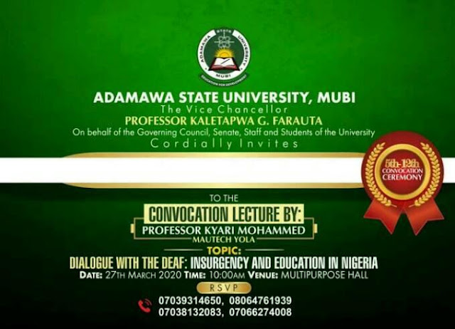 ADSU 5-12th Convocation Ceremony Programme of Events 2020