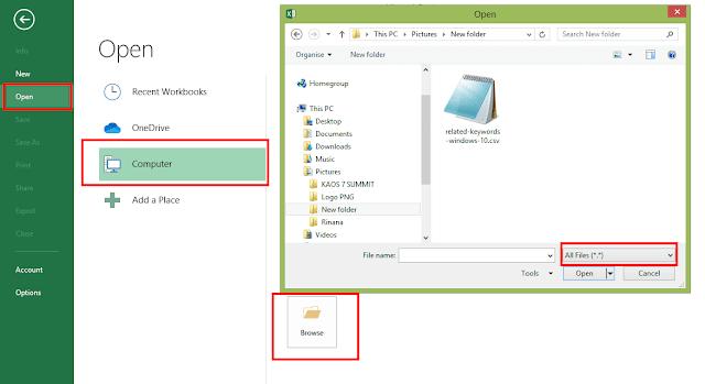 Buka Excel, Open, Dan Cari File Yang Akan di Buka, Pilih Format All Files