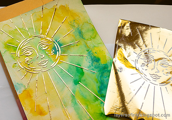 Layers of ink - Sunshine Art Journal Page tutorial by Anna-Karin Evaldsson. Add foil.