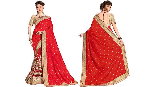 Pragati Fashion Hub Embroidered Fashion Dupion Silk, Net Saree  (Red)