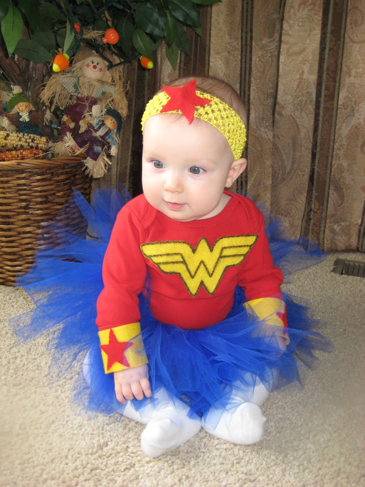 baby wonder women felt glued on a shirt and a diy tutu