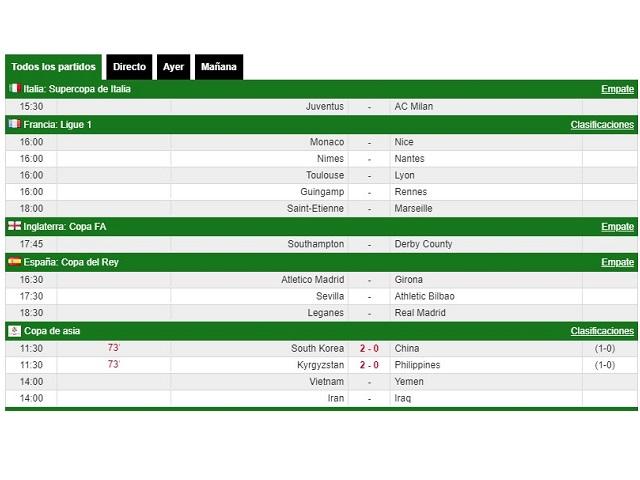 Ver los resultados en vivo de fútbol