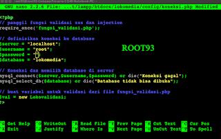 mengedit file koneksi.php di GNU Nano