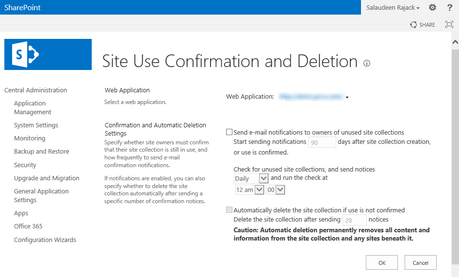 sharepoint 2013 site use confirmation and deletion