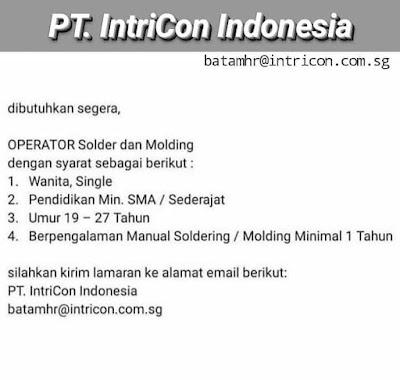 Kerjabatam.com PENGUMUMAN RESMI LOKER PT. Intricon Indonesia