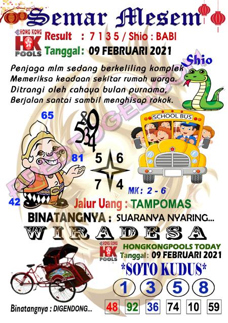 Syair HK Semar Mesem selasa 09 Februari 2021