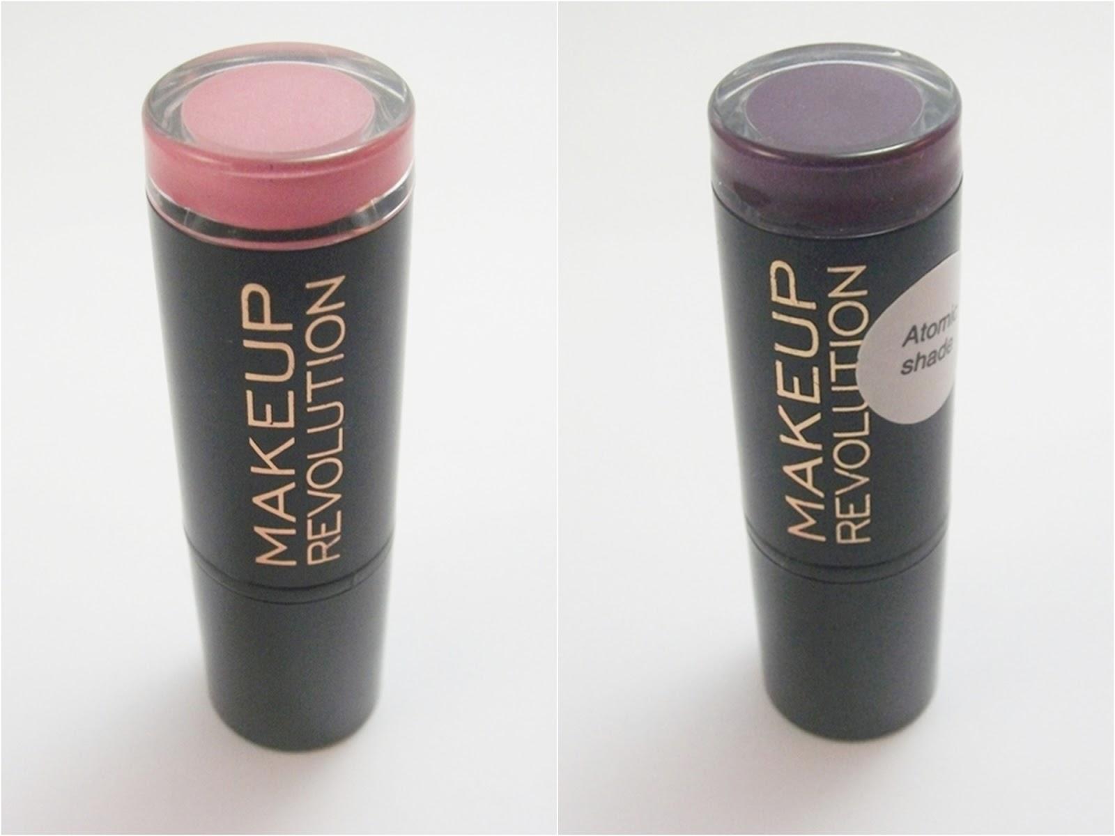Makeup Revolution Dusky, da linha Amazing Lipstick e Make It Right, da linha Atomic Shade