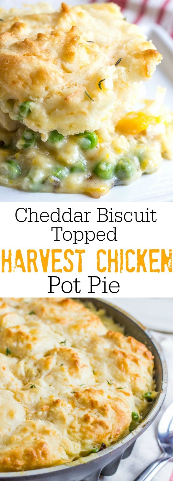 Cheddar Biscuits Topped Harvest Chicken Pot Pie