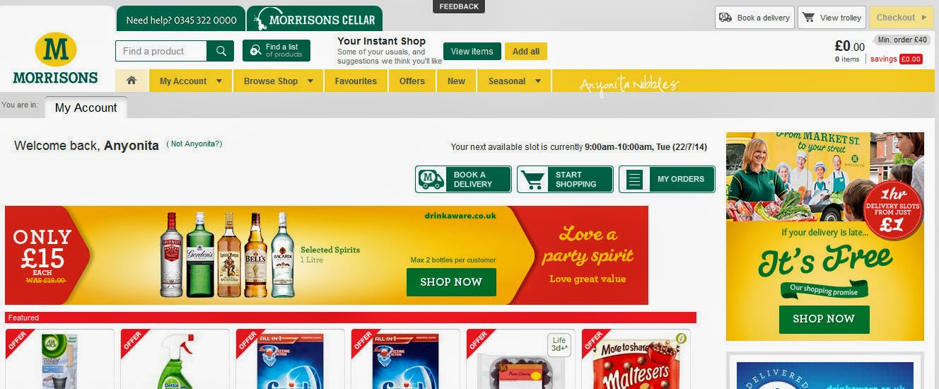 Morrisons online shopping dashboard
