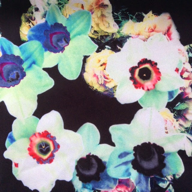 Wolf & Whistle digital floral print in bright colours of aqua and yellow. What Lizzy Loves, over 40 blogger