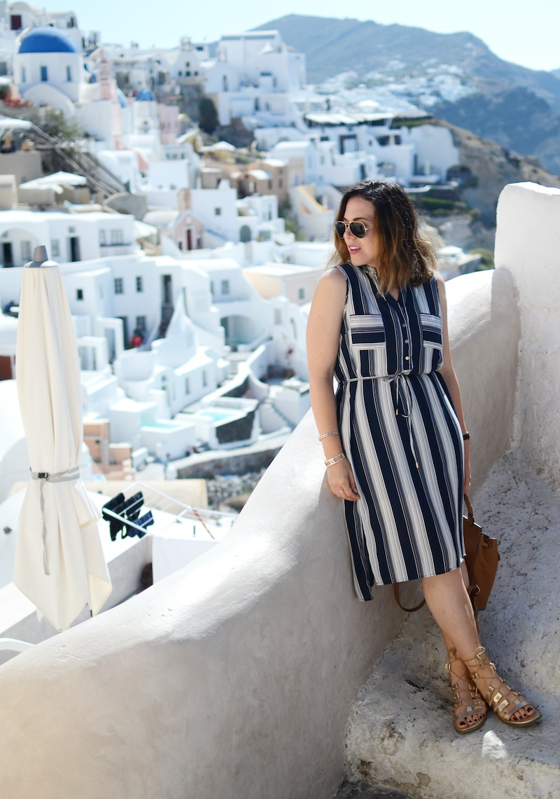 Le Chateau stripe dress Summer 2016 Vancouver fashion blogger travel Santorini Greece outfit ideao