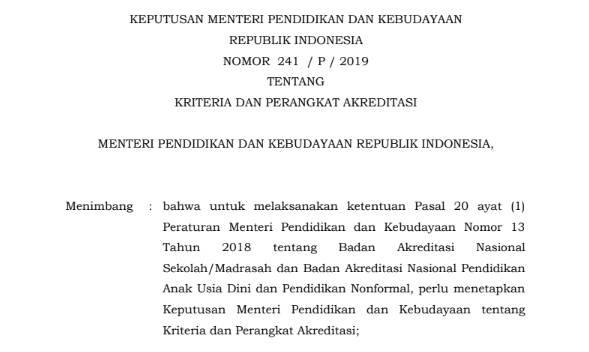 Perangkat Akreditasi Tahun 2019 (SD/MI, SMP/MTs, SMA/MA/SMK/MAK)