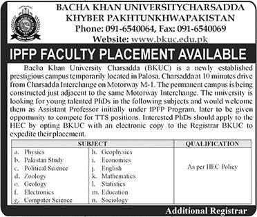 Bacha Khan University BKUC Jobs in Charsadda,IPFP Faculty Repleacment 2018