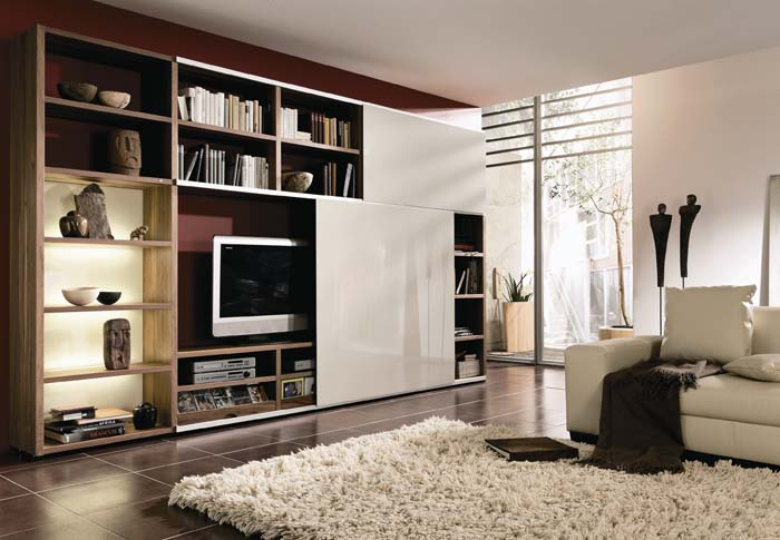 Modern living room furniture cabinet designs an for Modern style living room furniture