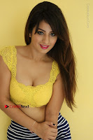 Cute Telugu Actress Shunaya Solanki High Definition Spicy Pos in Yellow Top and Skirt  0162.JPG