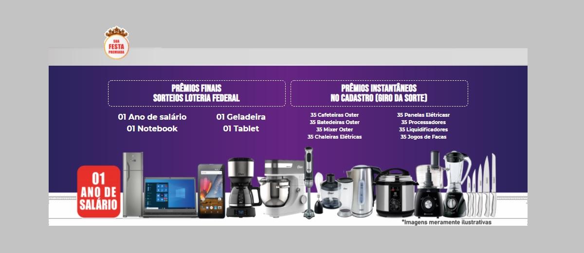 Participar Promoção Sua Festa Premiada 2021 Sorteios 1 Ano Salário e Prêmios na Hora - Cadastrar