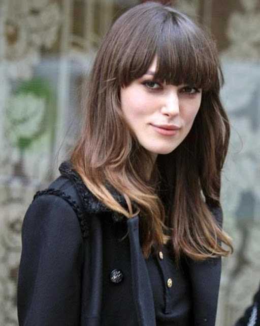 Keira Knightley Brunette With Bangs Hairstyle