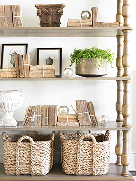 How About These Large Handled Baskets They Look Great And Make A The Floor Area Under This Shelving Unit Very Useful I Know Could Have Them Filled In