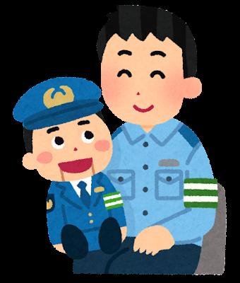 腹話術をする警察官のイラスト(男性)