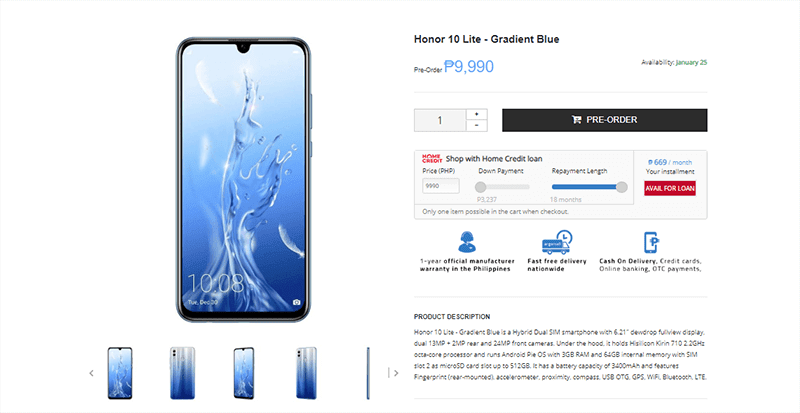 Honor 10 Lite is on pre-order at Argomall too!