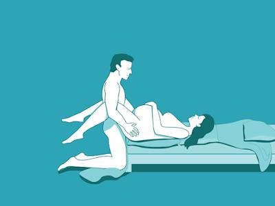 7.حافة السرير :  تحويل أسفل إلى الجانب أو أسفل السرير واستلقى واثني ركبتيك. (وبعد الأشهر الثلاثة الأولى، وتد وسادة تحت جانب واحد لذلك كنت يست مسطحة تماما على ظهرك).  اعتمادا على ارتفاع من السرير، يمكن أن شريك حياتك يركع أو الوقوف.