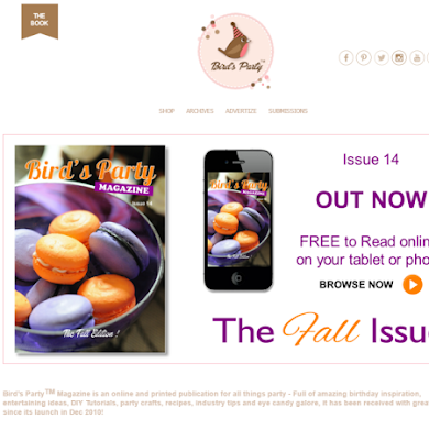 Bird's Party Ideas Magazine Site Makeover