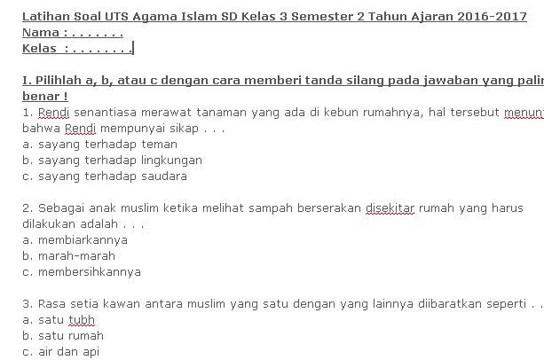Bank Soal Uts Agama Islam Sd Kelas 3 Semester 2 Terbaru