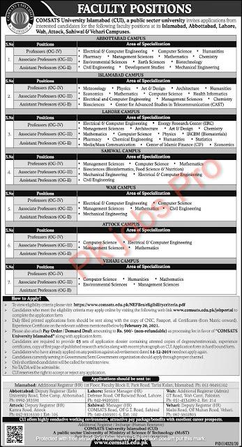 Comsats University Islamabad Jobs 2021
