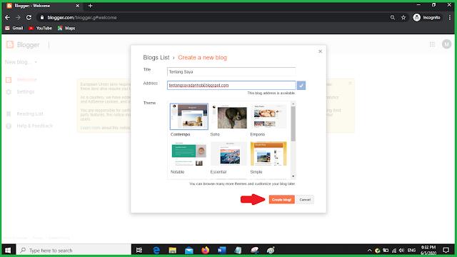 create blog blogger