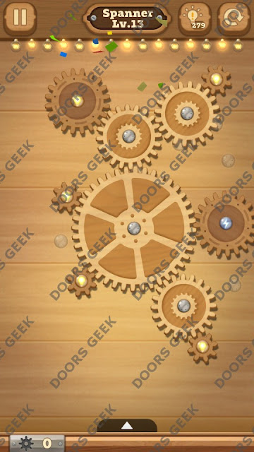 Fix it: Gear Puzzle [Spanner] Level 13 Solution, Cheats, Walkthrough for Android, iPhone, iPad and iPod