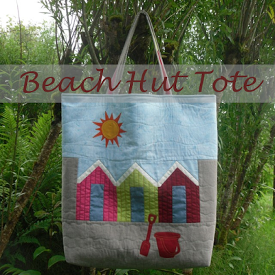 tote bag with pieced beach huts