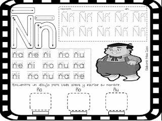 trazos de silabas Ña Ñe Ñi Ño Ñu