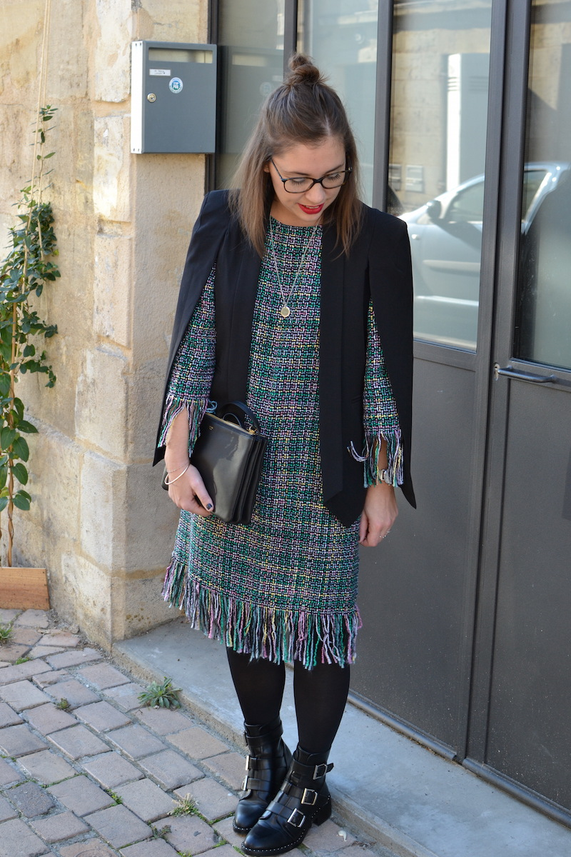 robe tweed et veste noir Sheinside, trio bag céline, collier l'atelier d'amaya, bottine Pimkie, Half bun