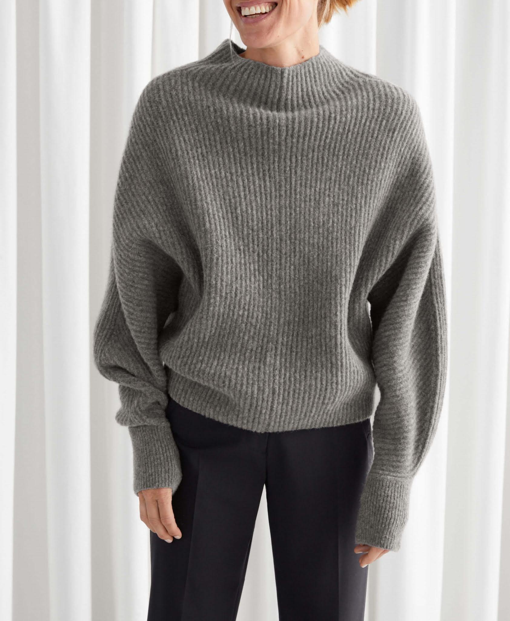 voluminous turtleneck knit jumper