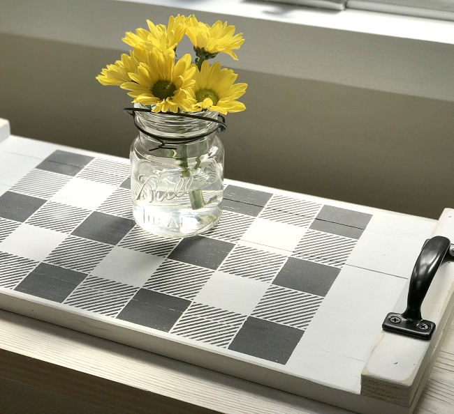 Buffalo Plaid stencil on a DIY rustic tray with flowers