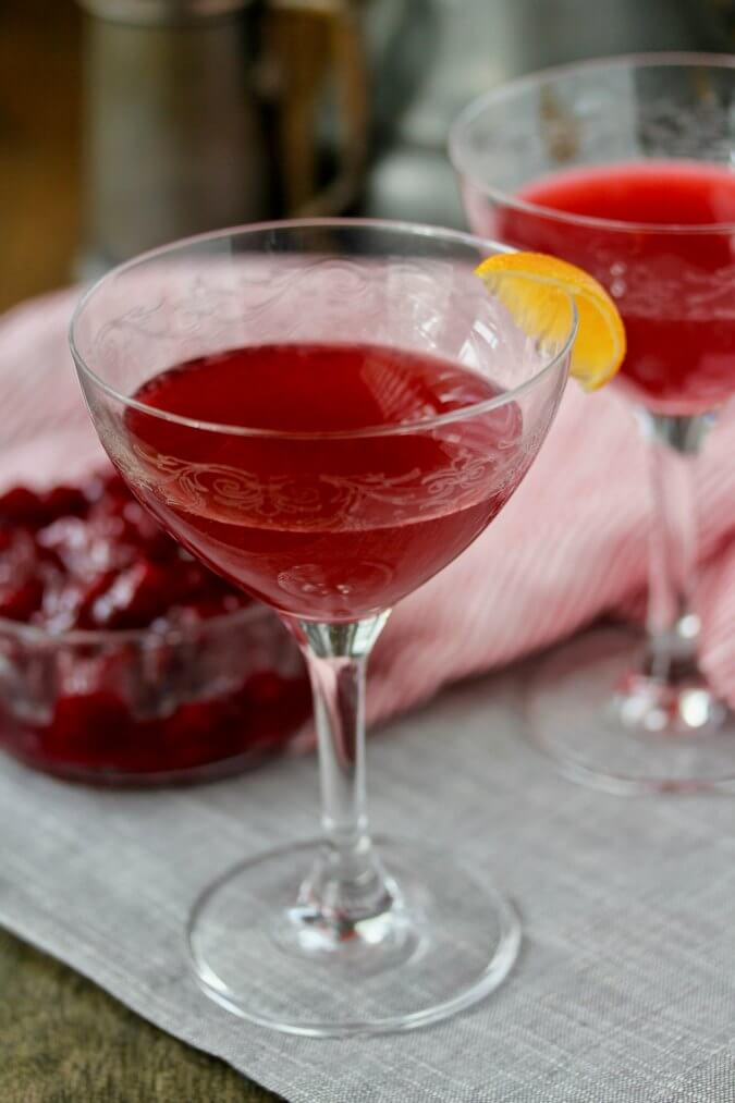 Two cranberry negronis
