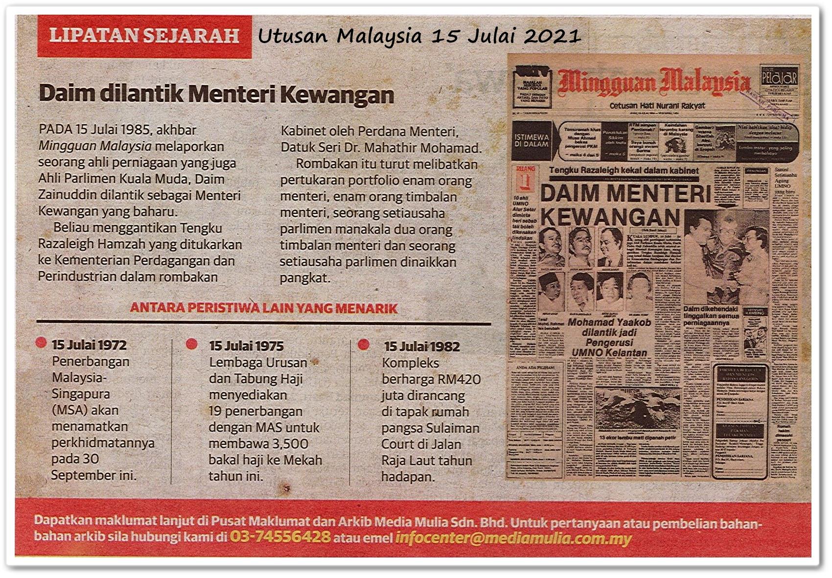 Lipatan sejarah 15 Julai - Keratan akhbar Utusan Malaysia 15 Julai 2021