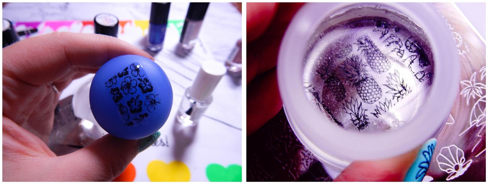 5 B LOVES PLATES stemplowanie krok po kroku tutorial opinie modne wzory na paznokcie na wakacje wakacyjne stemple manicure hybrydowy zwykły lakiery do stempli silikonowa podkladka płytki z wzorami