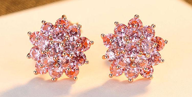 綻放的花朵粉紅鋯石 925純銀耳環