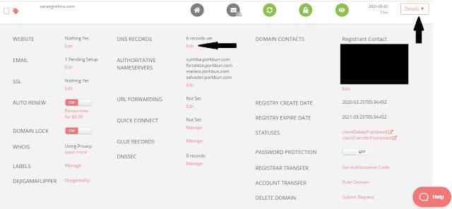 Tampilan domain management porkbun