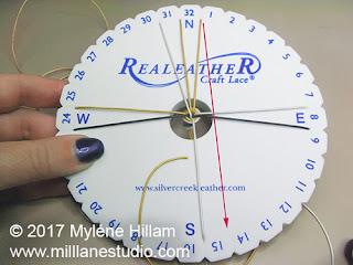 Working a Kumihimo braid on the Kumihimo disk