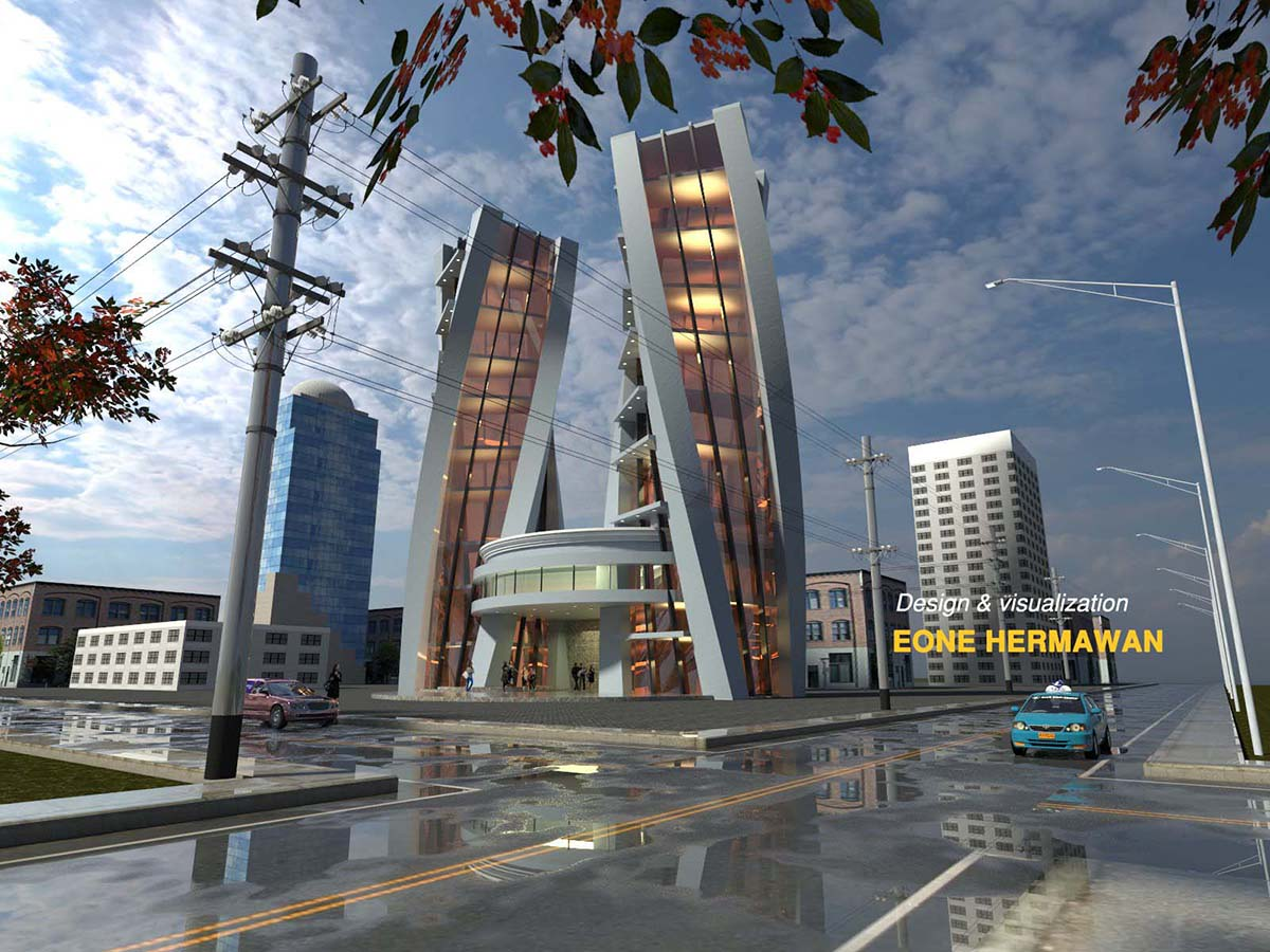 sketchup 3d model modern building 39 vray raw render  by Eone Hernawan