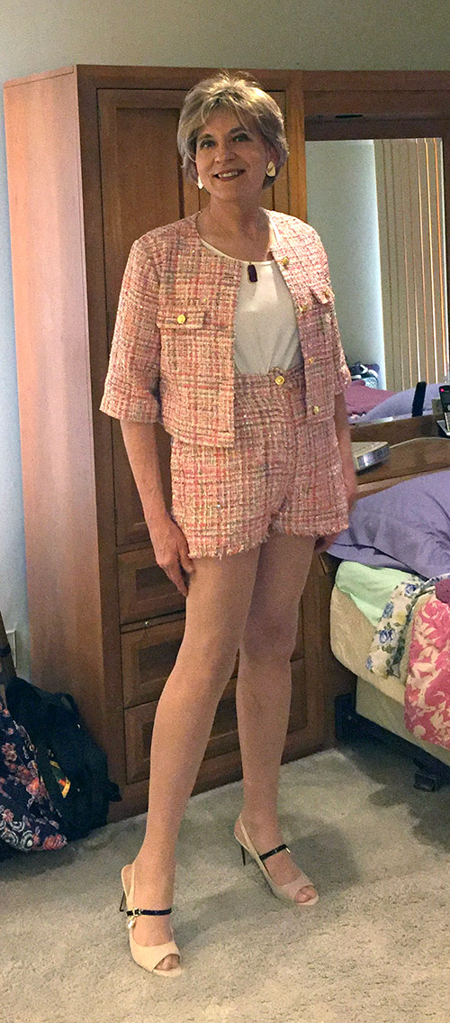 Wearing JustFab tweed high-waisted shorts and crop jacket and JustFab Sophie peep toe pumps