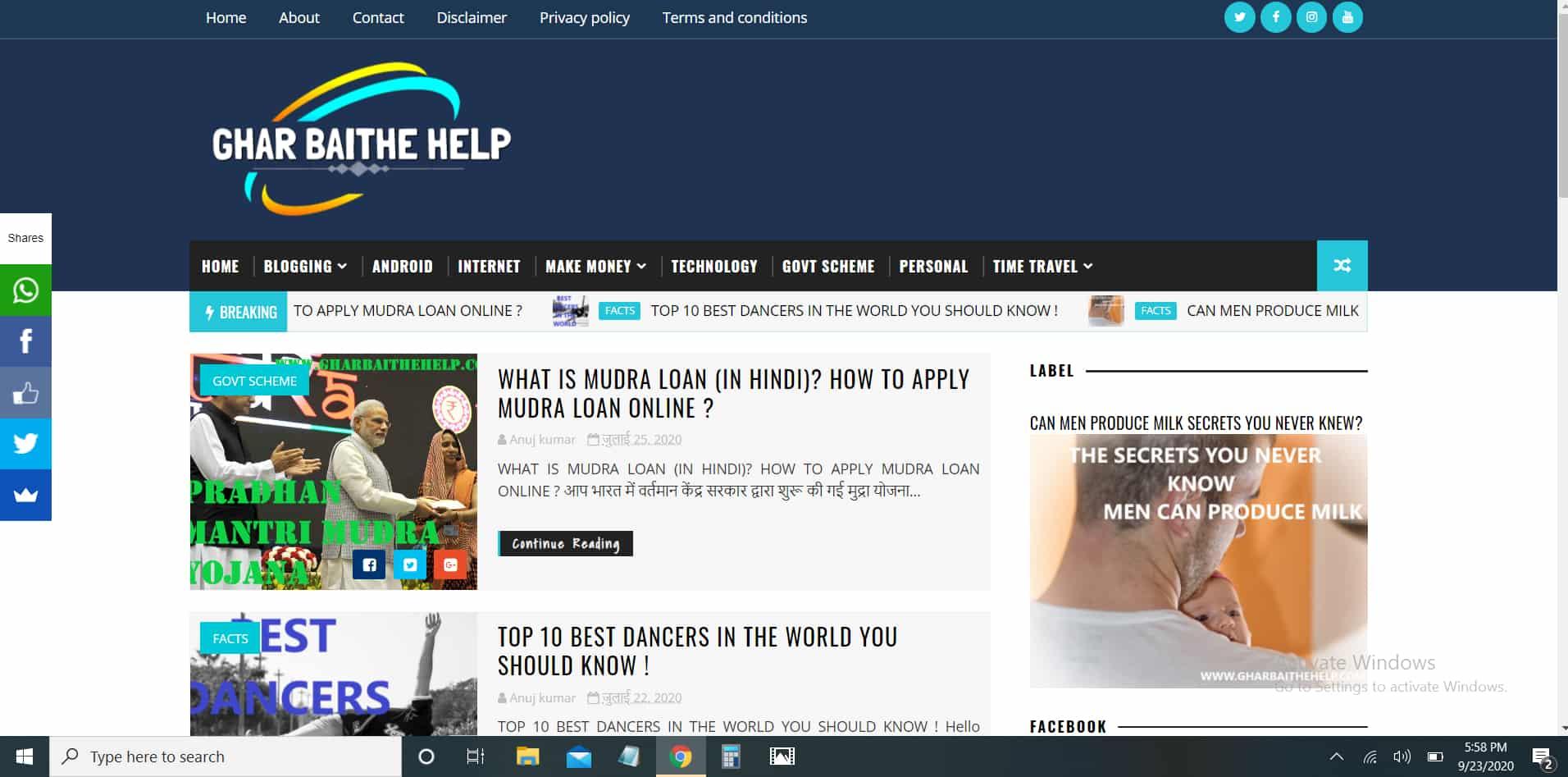 whatsapp share button in blogger