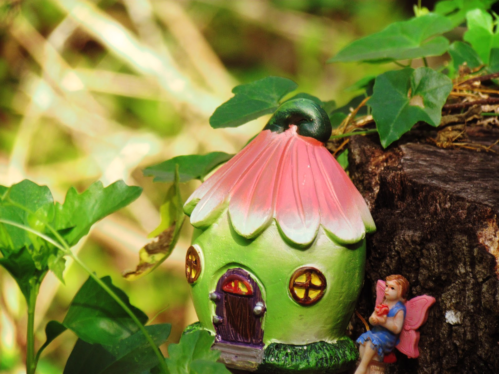 a fairy hiding on an oyster mushroom in the forest with a bright green fairy house on a meadow glen in mother nature + Florida wilderness