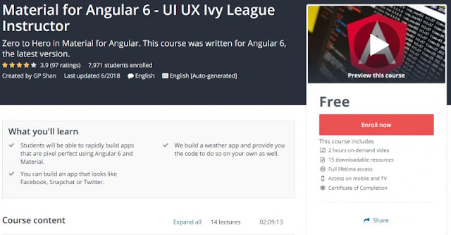 [100% Free] Material for Angular 6 - UI UX Ivy League Instructor